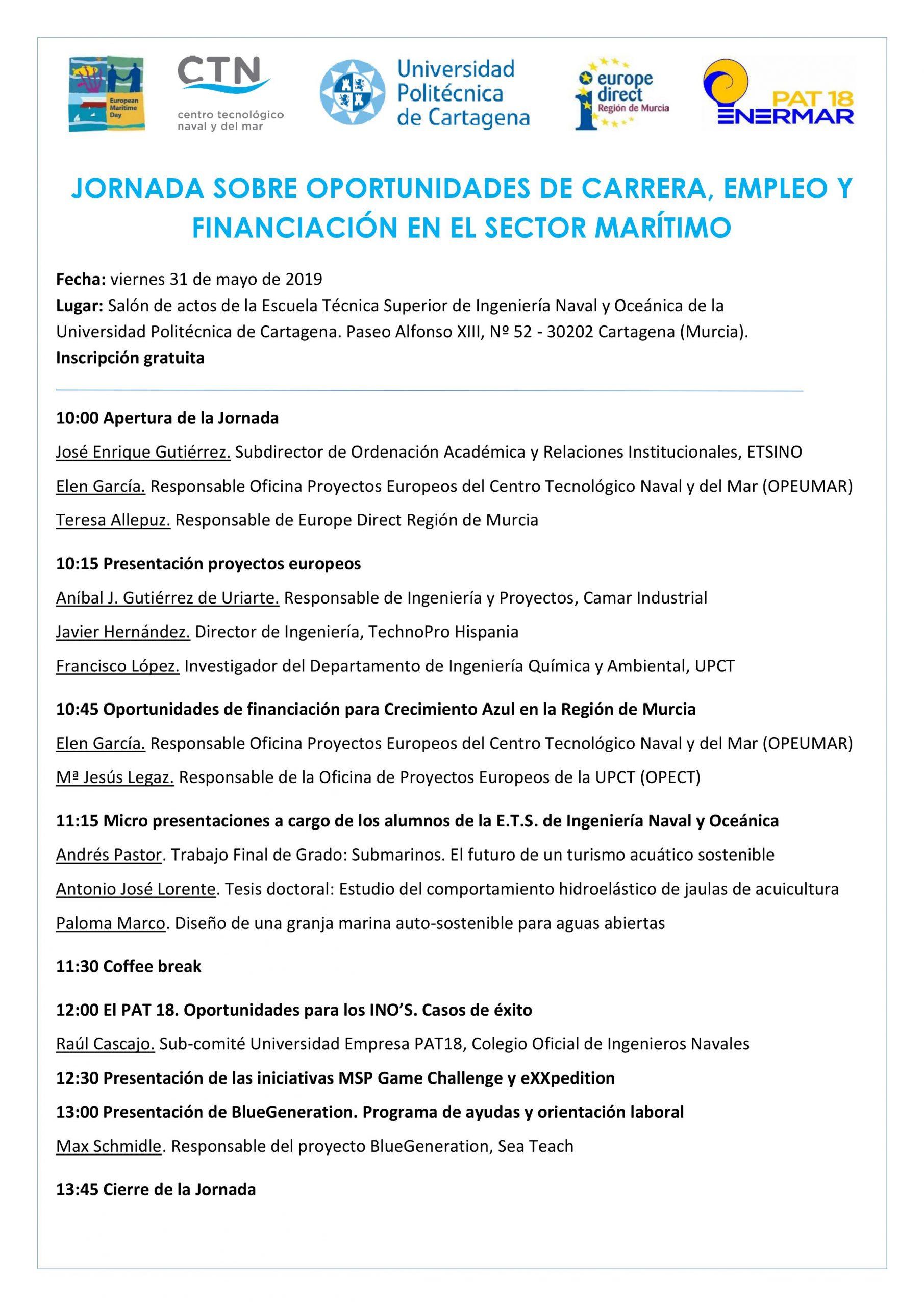Programa Jornada carrera, empleo y financiación en el sector marítimo