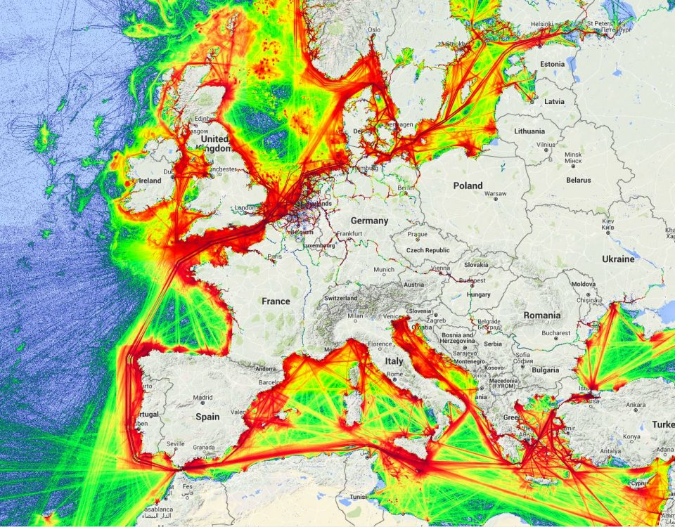 Mapa de densidad de tráfico marítimo en el marco del proyecto SILEMAR